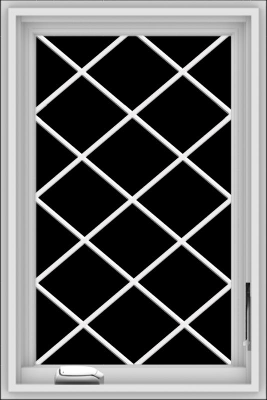 WDMA 20x30 (19.5 x 29.5 inch) White Vinyl uPVC Crank out Casement Window  with Diamond Grills