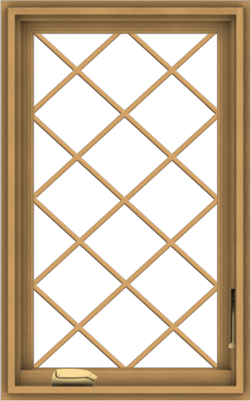 WDMA 20x32 (19.5 x 31.5 inch) Pine Wood Dark Grey Aluminum Crank out Casement Window  with Diamond Grills