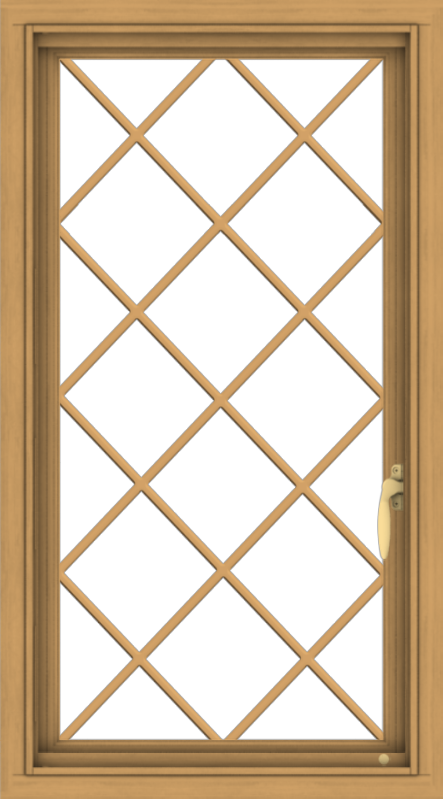 WDMA 20x36 (19.5 x 35.5 inch) Pine Wood Light Grey Aluminum Push out Casement Window  with Diamond Grills