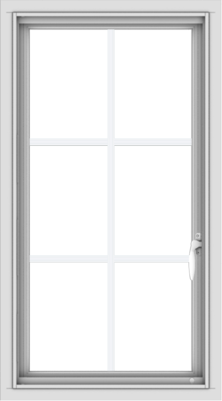 WDMA 20x36 (19.5 x 35.5 inch) Vinyl uPVC White Push out Casement Window with Colonial Grids