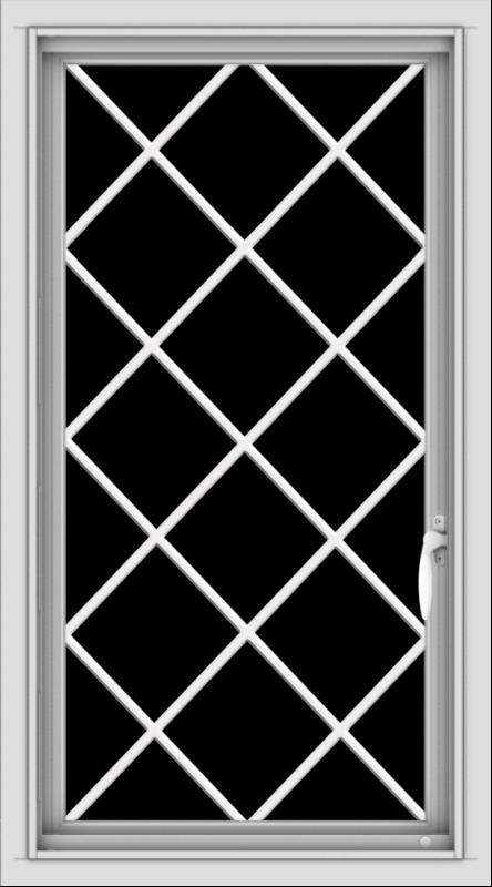 WDMA 20x36 (19.5 x 35.5 inch) Vinyl uPVC White Push out Casement Window  with Diamond Grills