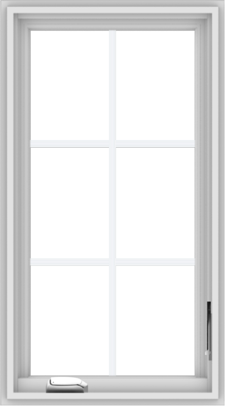 WDMA 20x36 (19.5 x 35.5 inch) White Vinyl uPVC Crank out Casement Window with Colonial Grids