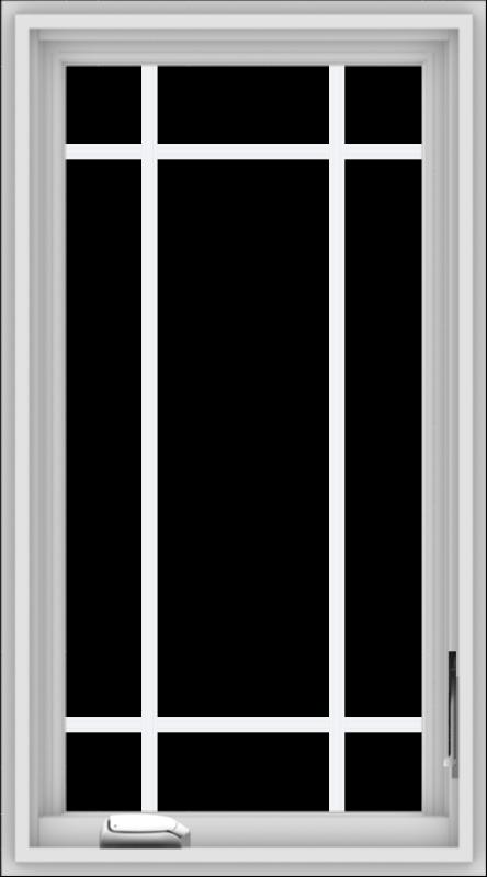 WDMA 20x36 (19.5 x 35.5 inch) White Vinyl uPVC Crank out Casement Window with Prairie Grilles