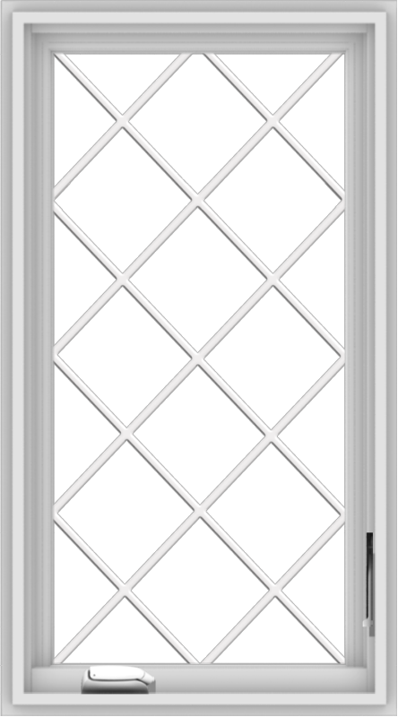 WDMA 20x36 (19.5 x 35.5 inch) White Vinyl uPVC Crank out Casement Window  with Diamond Grills