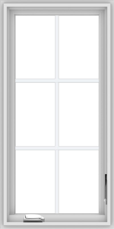 WDMA 20x40 (19.5 x 39.5 inch) White Vinyl uPVC Crank out Casement Window with Colonial Grids