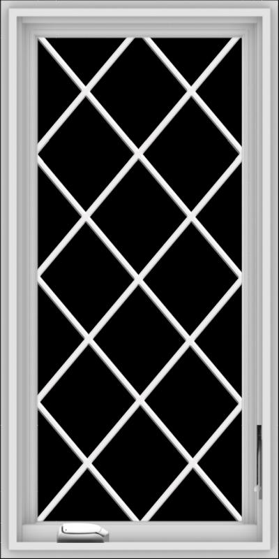 WDMA 20x40 (19.5 x 39.5 inch) White Vinyl uPVC Crank out Casement Window  with Diamond Grills