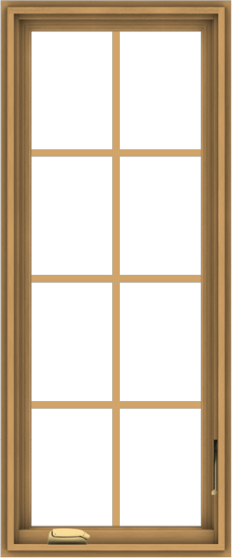 WDMA 20x48 (19.5 x 47.5 inch) Pine Wood Dark Grey Aluminum Crank out Casement Window with Colonial Grids