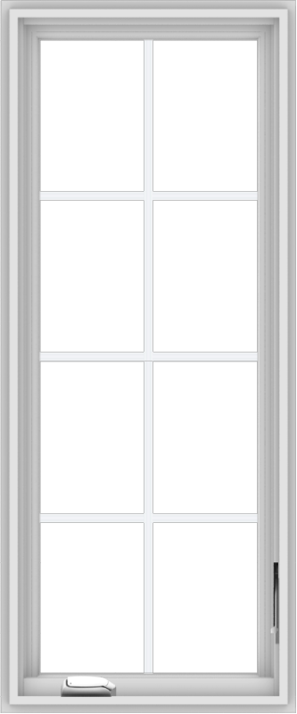 WDMA 20x48 (19.5 x 47.5 inch) White Vinyl uPVC Crank out Casement Window with Colonial Grids