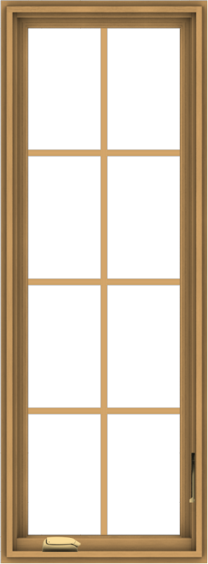 WDMA 20x54 (19.5 x 53.5 inch) Pine Wood Dark Grey Aluminum Crank out Casement Window with Colonial Grids