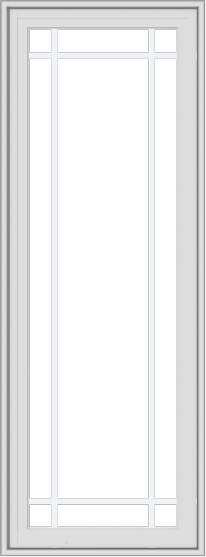 WDMA 20x54 (19.5 x 53.5 inch) White Vinyl uPVC Crank out Casement Window with Prairie Grilles