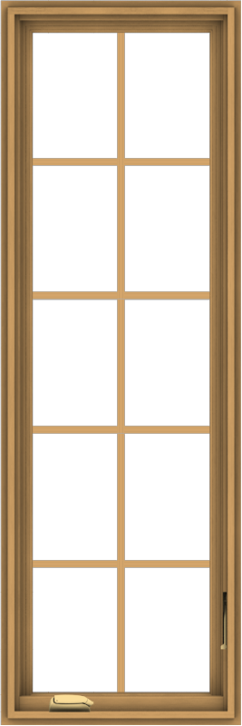 WDMA 20x60 (19.5 x 59.5 inch) Pine Wood Dark Grey Aluminum Crank out Casement Window with Colonial Grids