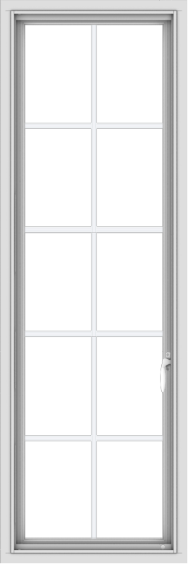WDMA 20x60 (19.5 x 59.5 inch) White Vinyl uPVC Push out Casement Window with Colonial Grids