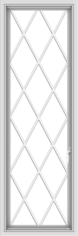 WDMA 20x60 (19.5 x 59.5 inch) White Vinyl uPVC Push out Casement Window without Grids with Diamond Grills