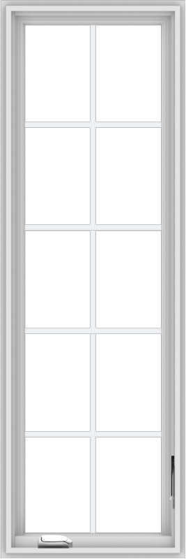 WDMA 20x60 (19.5 x 59.5 inch) White Vinyl uPVC Crank out Casement Window with Colonial Grids