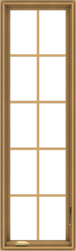 WDMA 20x66 (19.5 x 65.5 inch) Pine Wood Dark Grey Aluminum Crank out Casement Window with Colonial Grids