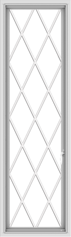 WDMA 20x66 (19.5 x 65.5 inch) White Vinyl uPVC Push out Casement Window without Grids with Diamond Grills