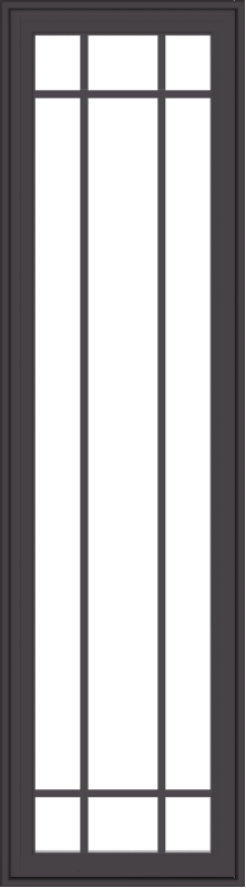 WDMA 20x72 (19.5 x 71.5 inch) Pine Wood Dark Grey Aluminum Crank out Casement Window with Prairie Grilles