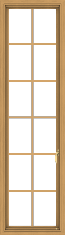 WDMA 20x72 (19.5 x 71.5 inch) Pine Wood Light Grey Aluminum Push out Casement Window with Colonial Grids