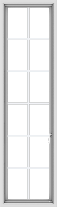 WDMA 20x72 (19.5 x 71.5 inch) White Vinyl uPVC Push out Casement Window with Colonial Grids