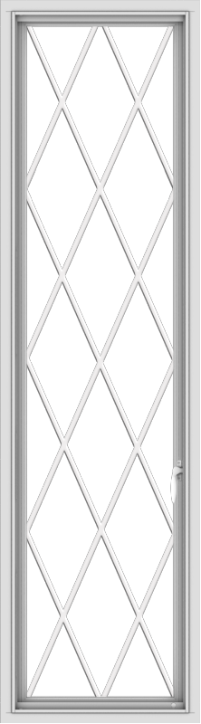 WDMA 20x72 (19.5 x 71.5 inch) White Vinyl uPVC Push out Casement Window without Grids with Diamond Grills