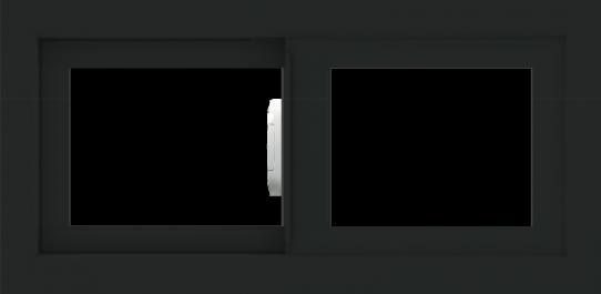 WDMA 24x12 (23.5 x 11.5 inch) Vinyl uPVC Black Slide Window without Grids Interior