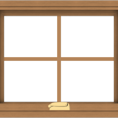 WDMA 24x20 (23.5 x 19.5 inch) Oak Wood Dark Brown Bronze Aluminum Crank out Awning Window with Colonial Grids Interior