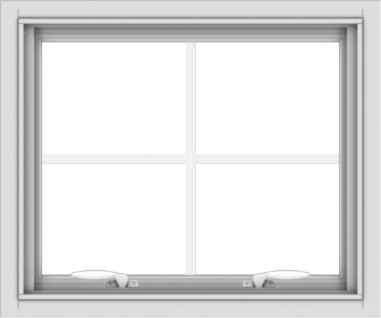 WDMA 24x20 (23.5 x 19.5 inch) White uPVC Vinyl Push out Awning Window with Colonial Grids Interior