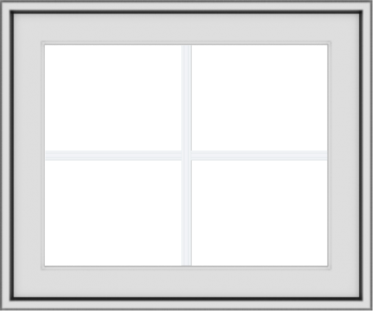 WDMA 24x20 (23.5 x 19.5 inch) White uPVC Vinyl Push out Awning Window with Colonial Grids Exterior