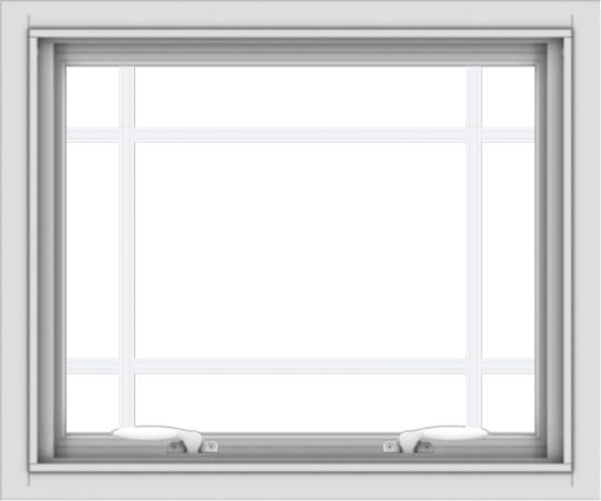 WDMA 24x20 (23.5 x 19.5 inch) White uPVC Vinyl Push out Awning Window with Prairie Grilles
