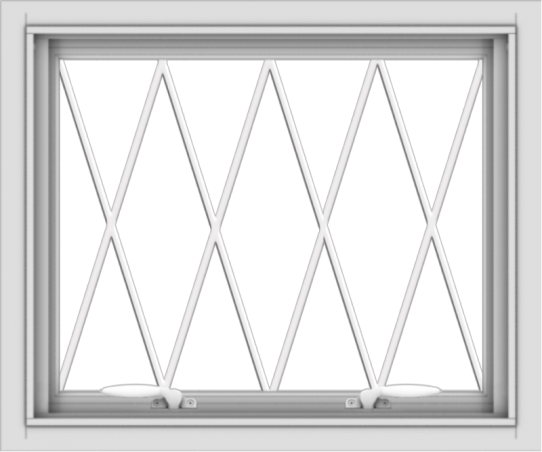WDMA 24x20 (23.5 x 19.5 inch) White uPVC Vinyl Push out Awning Window without Grids with Diamond Grills