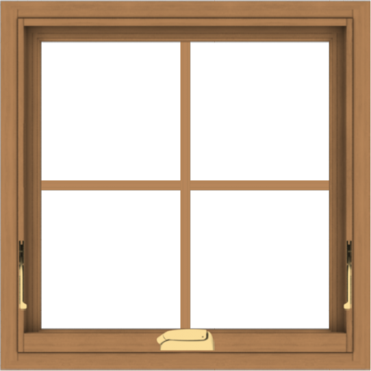 WDMA 24x24 (23.5 x 23.5 inch) Oak Wood Dark Brown Bronze Aluminum Crank out Awning Window with Colonial Grids Interior