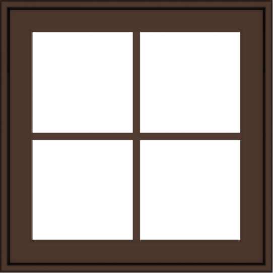 WDMA 24x24 (23.5 x 23.5 inch) Oak Wood Dark Brown Bronze Aluminum Crank out Awning Window with Colonial Grids Exterior