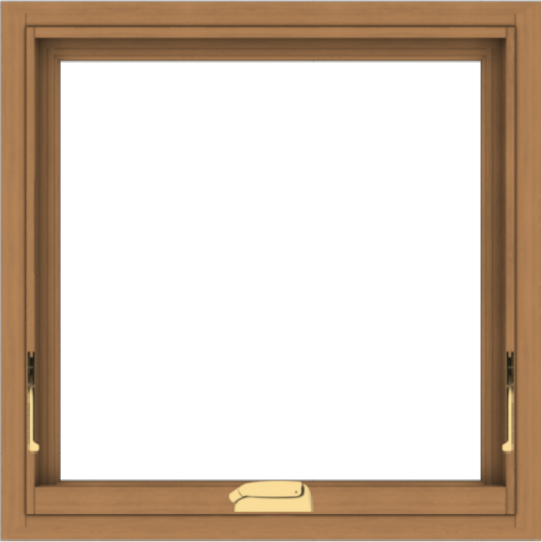 WDMA 24x24 (23.5 x 23.5 inch) Oak Wood Dark Brown Bronze Aluminum Crank out Awning Window without Grids