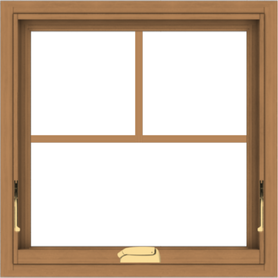WDMA 24x24 (23.5 x 23.5 inch) Oak Wood Dark Brown Bronze Aluminum Crank out Awning Window with Fractional Grilles