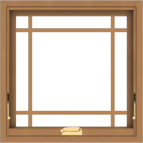 WDMA 24x24 (23.5 x 23.5 inch) Oak Wood Dark Brown Bronze Aluminum Crank out Awning Window with Prairie Grilles