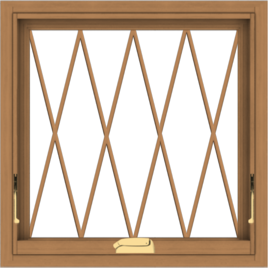 WDMA 24x24 (23.5 x 23.5 inch) Oak Wood Dark Brown Bronze Aluminum Crank out Awning Window without Grids with Diamond Grills