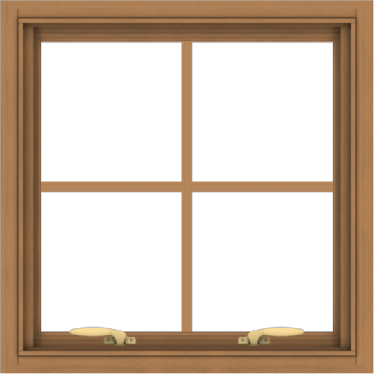 WDMA 24x24 (23.5 x 23.5 inch) Oak Wood Green Aluminum Push out Awning Window with Colonial Grids Interior
