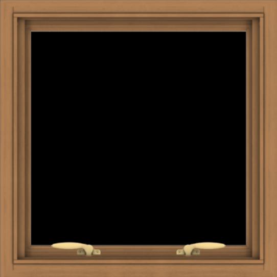 WDMA 24x24 (23.5 x 23.5 inch) Oak Wood Green Aluminum Push out Awning Window without Grids