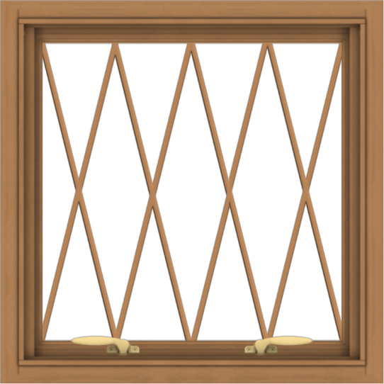 WDMA 24x24 (23.5 x 23.5 inch) Oak Wood Green Aluminum Push out Awning Window without Grids with Diamond Grills