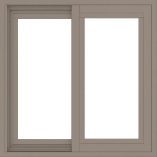 WDMA 24x24 (23.5 x 23.5 inch) Vinyl uPVC Brown Slide Window without Grids Exterior