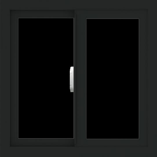 WDMA 24x24 (23.5 x 23.5 inch) Vinyl uPVC Black Slide Window without Grids Interior