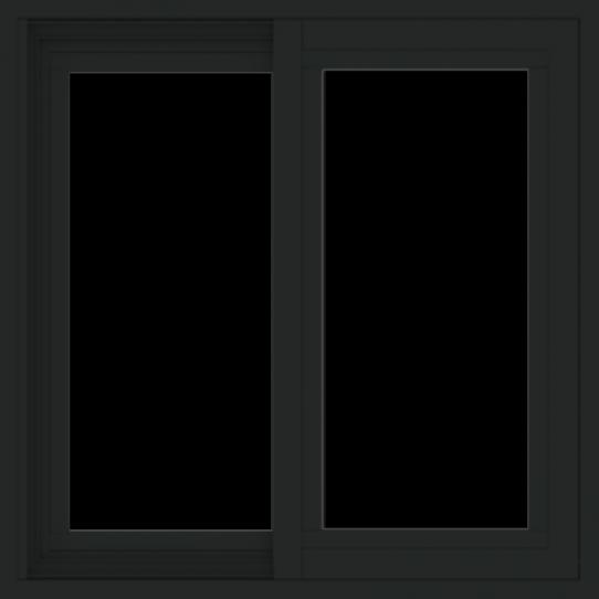WDMA 24x24 (23.5 x 23.5 inch) Vinyl uPVC Black Slide Window without Grids Exterior