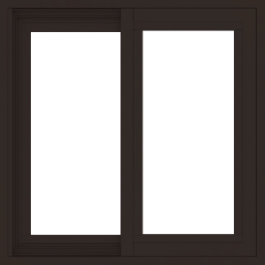 WDMA 24x24 (23.5 x 23.5 inch) Vinyl uPVC Dark Brown Slide Window without Grids Exterior