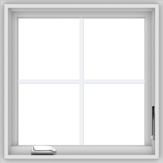 WDMA 24x24 (23.5 x 23.5 inch) White Vinyl uPVC Crank out Casement Window with Colonial Grids