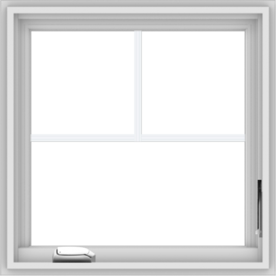 WDMA 24x24 (23.5 x 23.5 inch) White Vinyl uPVC Crank out Casement Window with Fractional Grilles