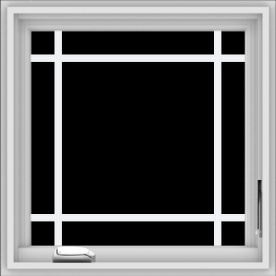 WDMA 24x24 (23.5 x 23.5 inch) White Vinyl uPVC Crank out Casement Window with Prairie Grilles