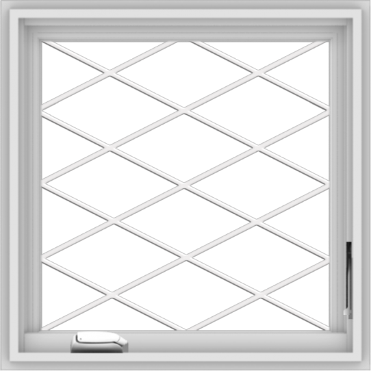 WDMA 24x24 (23.5 x 23.5 inch) White Vinyl uPVC Crank out Casement Window without Grids with Diamond Grills