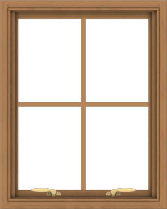 WDMA 24x30 (23.5 x 29.5 inch) Oak Wood Green Aluminum Push out Awning Window with Colonial Grids Interior