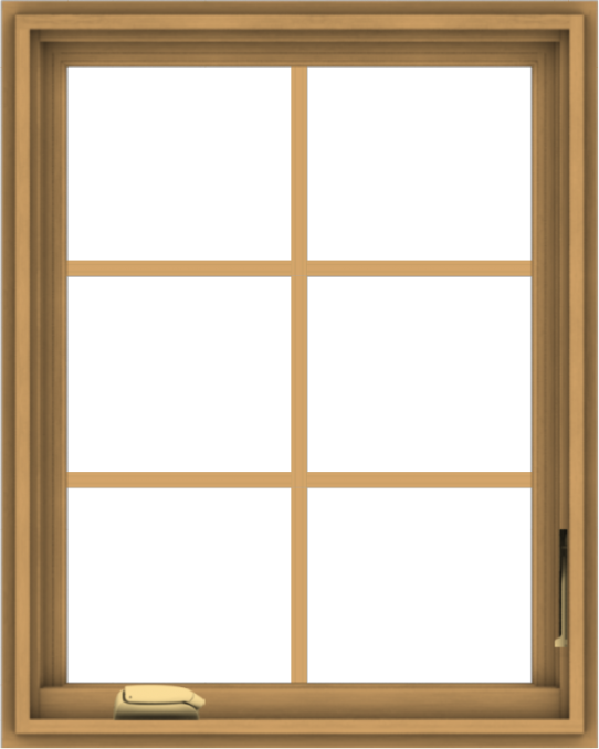 WDMA 24x30 (23.5 x 29.5 inch) Pine Wood Dark Grey Aluminum Crank out Casement Window with Colonial Grids