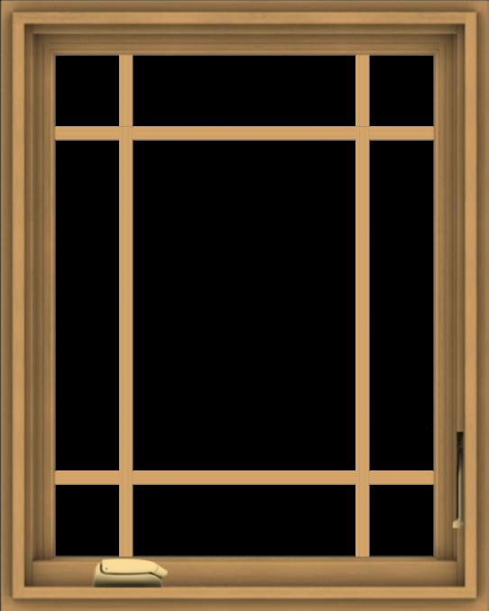 WDMA 24x30 (23.5 x 29.5 inch) Pine Wood Dark Grey Aluminum Crank out Casement Window with Prairie Grilles